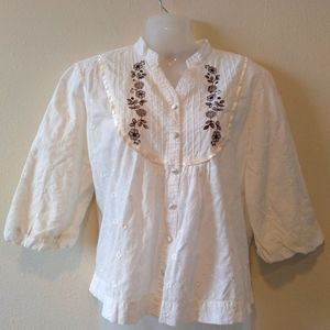 Art and Soul Peasant Style Embroidered Blouse Top